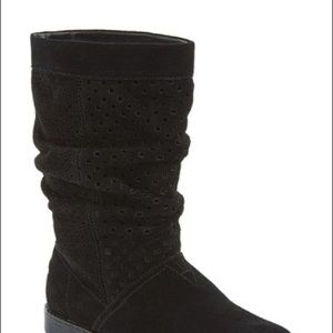 Perforated Black Suede Slouch Boots